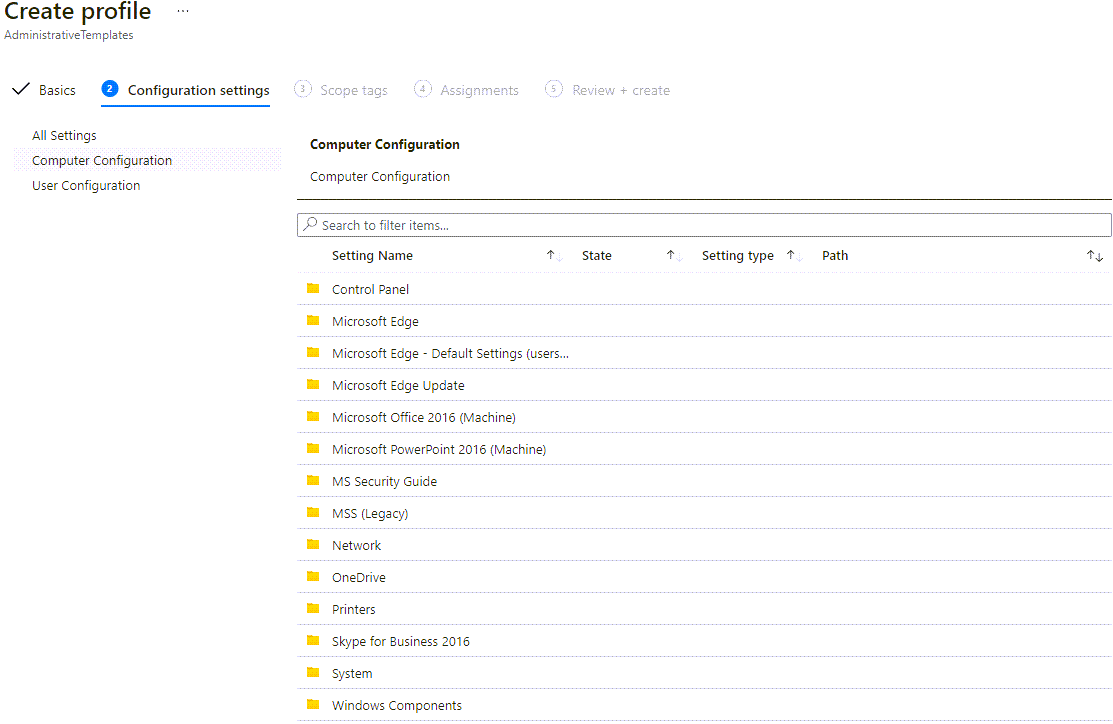 User-related administrative templates in Intune (version 2101)