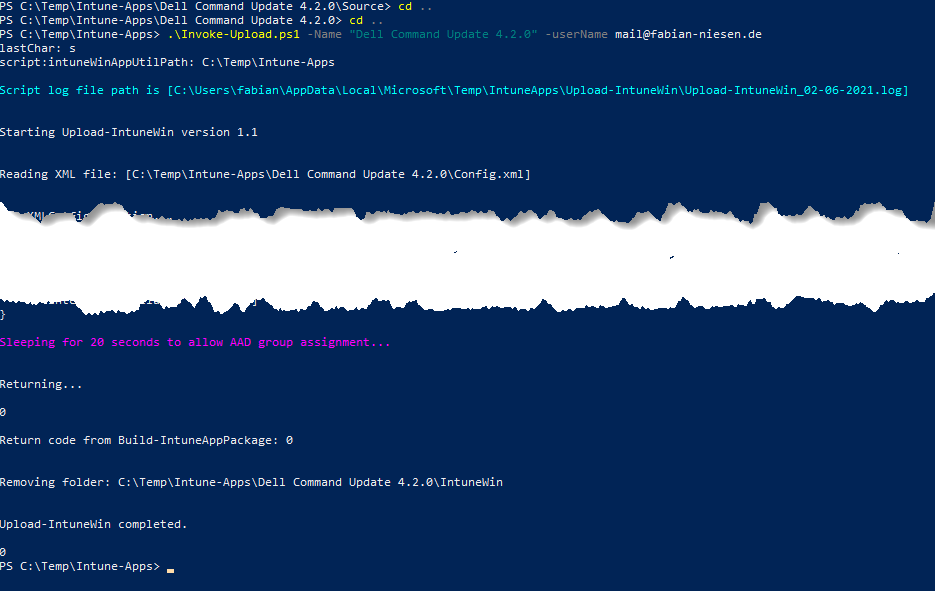 Excerpt from the PowerShell execution of the command Invoke-Upload.ps1