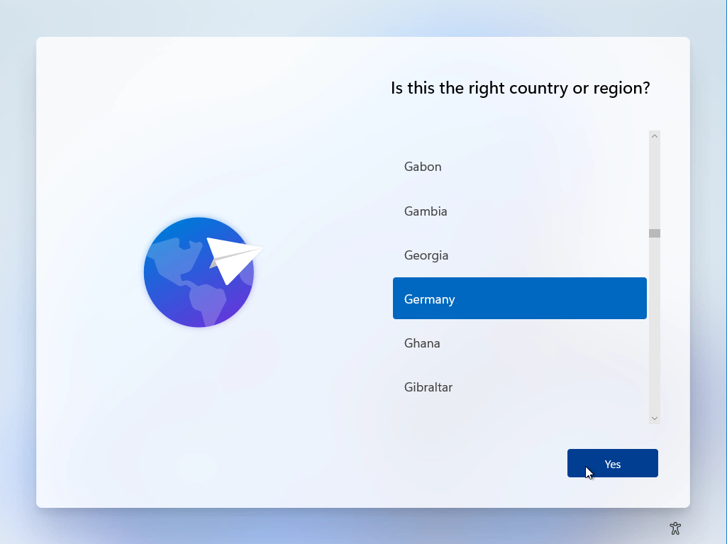 Computergenerierter Alternativtext: Is this the right country or region?  Gabon  Gambia  Georgia  Germany  Ghana  Gibraltar  Yes