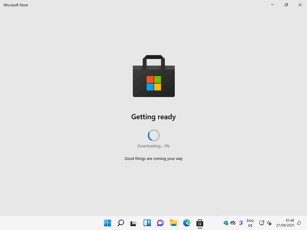 Microsoft Store  Getting ready  Downloading... 0%  Good things are coming your way  ENG  27/09/2021